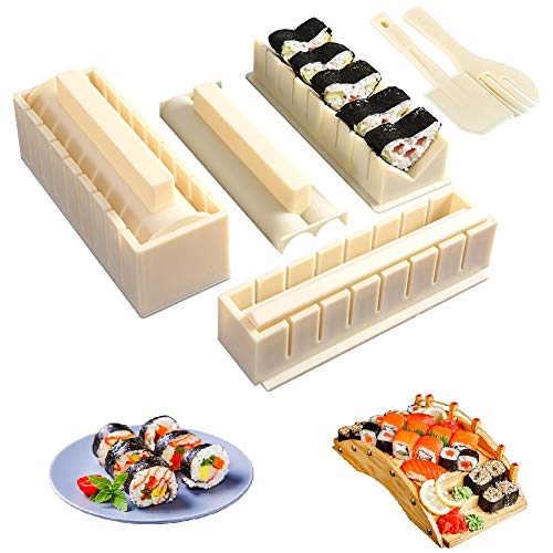 Sushi Making KitAll In One Sushi Set 10 Piece FoodGrade Plastic Sushi Maker Tool Complete with 8 Sushi Rice Roll Mold Shapes Fork Spatula DIY Home Sushi Tool for DIY Beginners