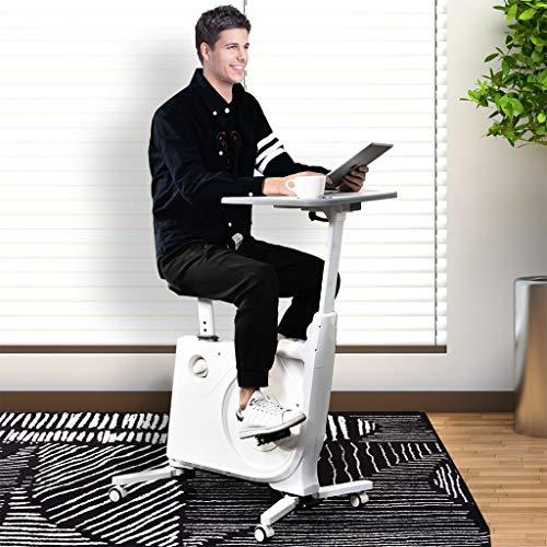 SJWR Cyclette Fissa 2 in 1 e Stazione di Lavoro da Tavolo con Monitor LCD, Bianco