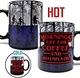 Mornings Are For Coffee & Contemplation - Color Changing Heat Sensitive 11oz Mug - Stranger Things Inspired - Foam Box Packaging