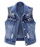 LifeShe Womens Beading Pearls Sleeveless Denim Vest Jean Jacket Coat (Blue, L)