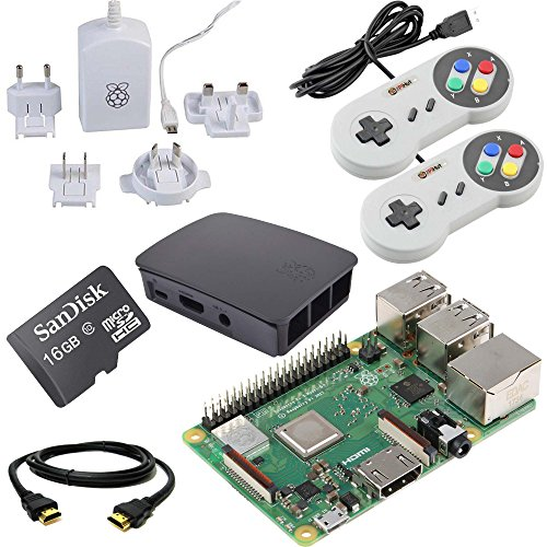 Raspberry Pi 3 B+ 16GB Retro Gaming Bundle with 2 SNES Style Controllers by The Pi Hut