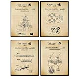 Disney Rides Patent Art Prints - Vintage Wall Art Poster Set - Chic Rustic Home Decor for Boys, Girls, Teens, Kids Room - Gift for Mickey Mouse, Disney World, Disneyland Fans, 8x10 Photos Unframed