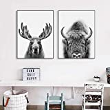 Canvas Painting Forest Animal Moose Print Black White Photo Poster Nursery Decor Wall Art Pictures Boys Kids Room Decor-60x80 cm No Frame