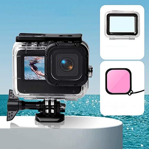 Dongdexiu Cajas Impermeables de la cámara Funda Impermeable + Cubierta Trasera Touch + Filtro de Lente de Color para Gopro Hero9 Negro