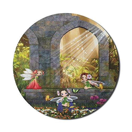 Ambesonne Garden Mouse Pad for Computers, Fairies Playing in The Ruins with Flowers Blossom Butterflies Fantasy Scene, Round Non-Slip Thick Rubber Modern Gaming Mousepad, 8' x 8', Charcoal Green Red