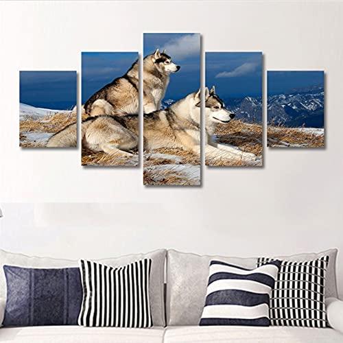 lienzo decorativo para pared Imagen de arte de la pared de la impresión de lienzo para el hogar Dog Dog 5 Piezas Pinturas Marco Foto de Animal para Bathroom Dormitorio Sala de estar ( Size : C