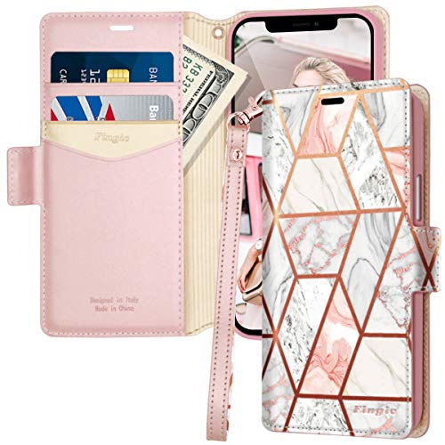 iPhone 12 5G Case, iPhone 12 Pro 5G Case, Fingic Rose Gold Marble PU Leather Credit Card Slot Holder Side Pockets Shockproof Flip Wallet Protective Cover Case for Apple iPhone 12/12 Pro 6.1 inch 2020