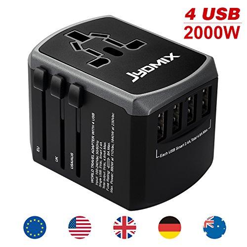 JYDMIX Alimentatore Universale all in One USB Adattatore da Viaggio con 4 Porte USB Caricatore AC da Parete Internazionale per Tutto Il Mondo Spina 8 Pin Presa AC