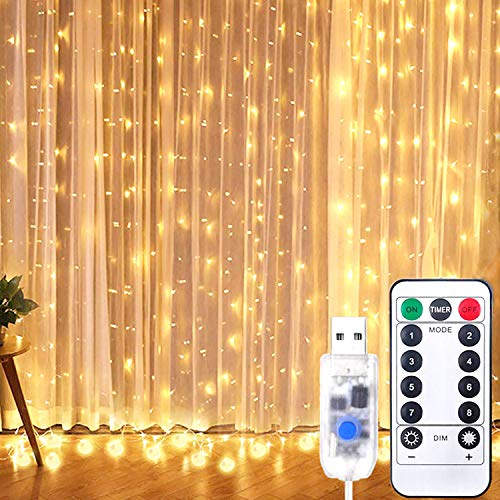 Window Curtain Fairy String Lights, 9.8x9.8 FT 300 LED USB Powered Waterproof, 8 Lighting Modes with Hooks, Remote Control Timer for Bedroom Wedding Party Home Indoor Outdoor (Warm White)