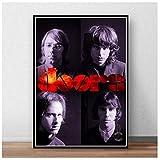 ドアジムモリソンポスターロックバンド音楽ギターポスターとプリント壁アートプリントリビングルーム用キャンバスに-50x75cmフレームなし