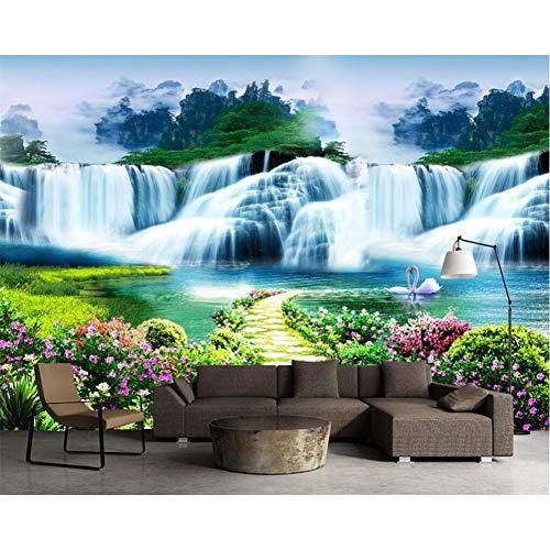 GUDOJK muurschildering kostuum muur papier bloem boom pad waterval landschap landschap kunst muurschilderingen leven slaapkamer kinderen kamer 3d muur papierWoonkamer slaapkamer muur decoratie 100x150cm