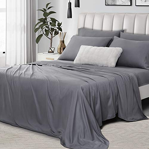 Umchord Bamboo Sheets Set, 6 Piece 100% Bamboo Bed Sheets Queen, Cooling Sheet Set for Hot Sleepers, Moisture Wicking Bed Sheets with 16' Deep Pocket, Silky Soft Bedding Sheets (Queen, Dark Grey)
