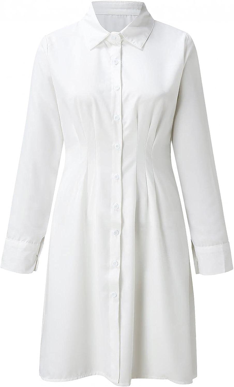 Women Casual Sexy Printing Shirt Buttoned Long Sleeve Shirt Tight Waist Dress Fall Dresses Party Maxi Dresses C7