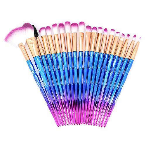 ShawFly Make-up Pinsel Set, 20 Stück bunte Farbverlauf Make-up Pinsel, Blending Face Powder Blush Concealer Augen Concealer Pinsel Kit (Blau)