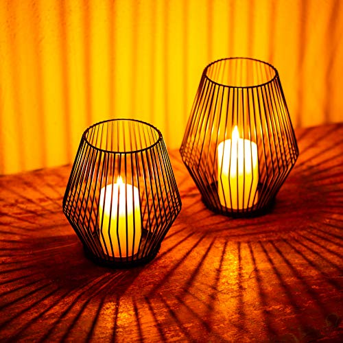 Sziqiqi Candelabro en Forma de Linterna Vela Juego de 2, Metal Portavelas de Columna, Velas para Candelabros de Pilar Vintage para Mesas de Sala de Estar, Candelabros para Navidad Bodas Comedor