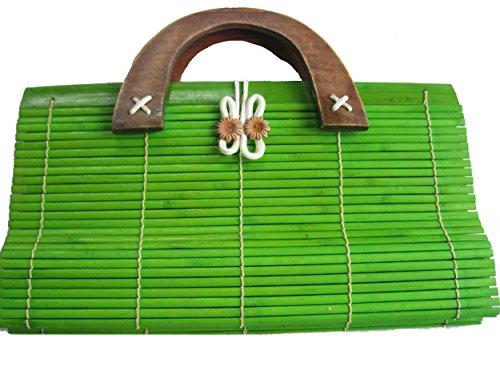 Kunsthandwerk Asien Tasche aus Bambus im japanischen Stil, Henkeltasche in verschiedenen Farben, Größe 30 x 16 cn (grün-olive)