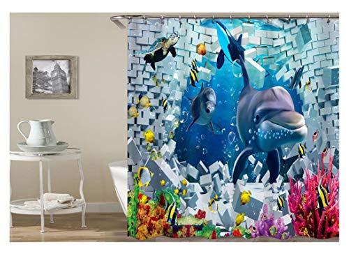 AnazoZ Duschvorhang Anti-Schimmel, Wasserdicht Vorhänge an Badewanne Antibakteriell, Bad Vorhang für Dusche 3D Unterwasserwelt Delfin, 100% PEVA, inkl. 12 Duschvorhangringen 180 x 180 cm