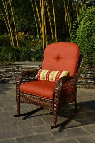 Better Homes and Gardens Azalea Ridge Porch Deck and Patio Rocking Chair All Weather Outdoor Wicker Rocker Furniture, 37' h, Seat Depth 19.75' (Brown)