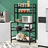 YGBH Bakers Rack for Home Kitchen, Microwave Stand with Storage, 5-Tier Kitchen Utility Storage Shelf, 2-Tier+3-Tier Microwave Stand or Coffee Bar Table for Spice, Pots and Pans Organizer (Black)