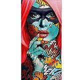 Chica de Moda Modelo Retrato Hip-Hop Graffiti Skins Street Pop Art Maquillaje Mujer Sexy Lienzo Pintura Póster de Pared Dormitorio Sala de Estar Salón de Belleza Estudio Decoración para el hogar