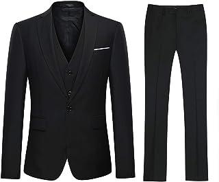 Mens Slim Fit Suits 1 Button Business 3 Piece Suit Wedding Prom Blazer Waistcoat Trousers