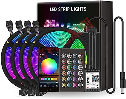 ZJDM Tira de LED, Cinturón de luz WiFi Inteligente de 20 Metros de Voz, Cinturón de luz LED RGB 5050 de 600 LED, Cinturón de luz de música Colorido a Prueba de Agua, Decoración de Festival interi