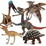5 PCS Dinosaur Model Action Figures Simulation Realistic Pterosaur Saichania Therizinosaurus Playset Cognitive Toy Party Favors Decor for Kid Boys Girls Toddlers 5 6 7 8 Years Old