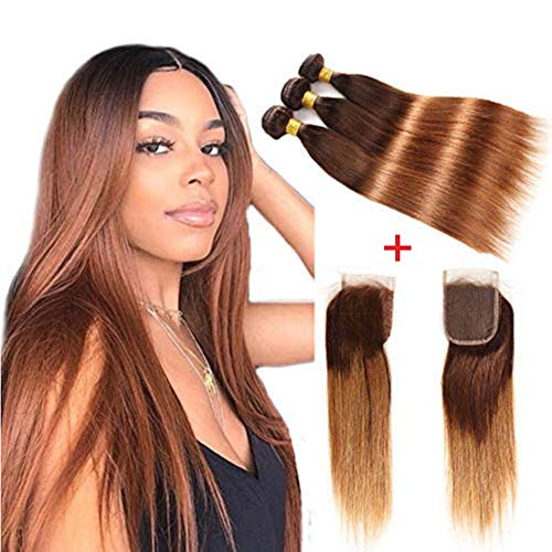 Fastest Shipping Ombre Brazilian Virgin Hair Straight Hair Bundles with Closure (20''22''24''+18''Closure) 2 Tone Ombre Brazilian Human Hair Weave Bundles and Closure T4/30 Medium Brown/Auburn