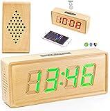 WXX Alarma de la música del Reloj LED de Madera Maciza, Toque los Controles de los Altavoces Bluetooth sin Puntos Jugador Colorido Reloj de Mesa de Madera, Brillo Ajustable Am