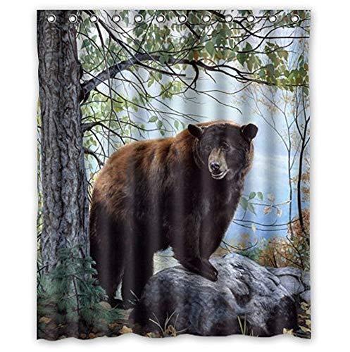 ZHANZZK Bear Forest Nature Design Waterproof Bathroom Fabric Shower Curtain 60 x 72 inches