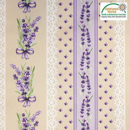 tissu Stoff Baumwollstoff Motiv Provence mit Lavendel 150 cm breit Meterware