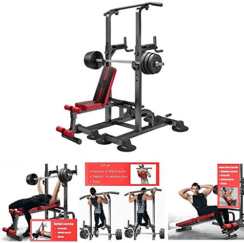 Cnley Banco de pesas plegable para el hogar multifuncional para sentadillas, carga máxima de 100 libras, soporte ajustable para sentadillas, banco de pesas para gimnasio en casa
