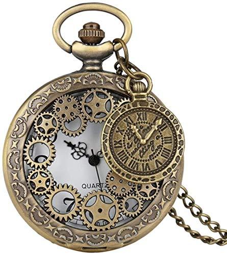 Reloj De Bolsillo De Cuarzo Con Engranaje De Cobre Antiguo Vintage, Reloj De Bolsillo Con Engranaje Hueco De Bronce, Colgante, Reloj, Cadena, Hombres, Mujeres Con Accesorio (With dial accessories)