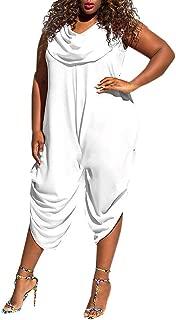 Pantalones De Trabajo para Mujer Las Rebajas Cuello De La Oferta Arrugado Media Pierna Corte Bajo Mono Transpirable CANDLLY Monos De Talla Grande para Mujer Pantal/ón Largo