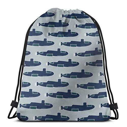 jingqi Blaue U-Boote Gymsack,Reisesackpack,Kordelzug Taschen,Sporttaschen Drucken,Sport Cinch Pack,Leichter Turnbeutel