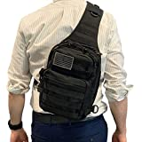 BH Tactical Sling Backpack | Military Army Rover Shoulder Bag Pack | Molle Assault Range Bag | Everyday Small Conceal Carry w/ USA Flag | Gear for Outdoor Sports, Hiking, Camping, Trekking | EMS CCW