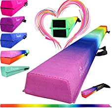 PreGymnastic Folding Balance Beam 8FT/9.5FT -Extra-Firm Suede Cover with Shinning Sticker and Carry Bag for Home/School/Club/Travel