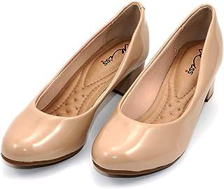 MISS AJ Beige Modish Shiny Block Heels Shoes