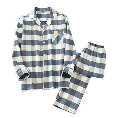 LEYUANA Pyjama,Qualität Mode Plaid Paare Pyjama Sets, Frauen Baumwolle Langarm...