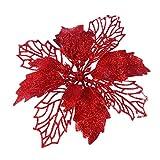 PRETYZOOM Poinsettia Artificial Flores Glitter Hollow Poinsettia Árbol de Navidad Adornos Colgantes Corona de Vacaciones Arreglo Floral Decoraciones Rojo