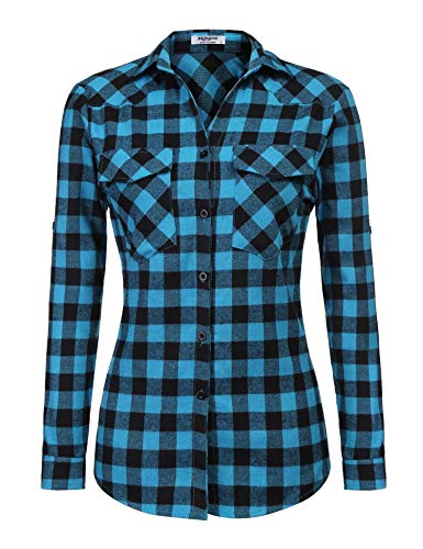 Zeagoo Womens Tartan Plaid Flannel Shirt, Roll up Long Sleeve Checkered Cotton Shirt, Blue, Medium