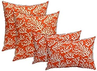 Resort Spa Home Set of 4 Indoor Outdoor Pillows - 2 Square Throw Pillows & 2 Rectangle/Lumbar Throw Pillows - Mandarin Orange and White Coastal Ocean Coral Reef - Choose Size (17