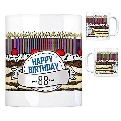 Geburtstagstorte Kaffeebecher zum 88. Geburtstag mit 88 Kerzen Tasse Kaffeetasse Becher Mug Teetasse Büro 88 Jahre Tasse Torte Kuchen 88 Kerzen Geschenkidee Geburtstagstasse Schwarzwälder