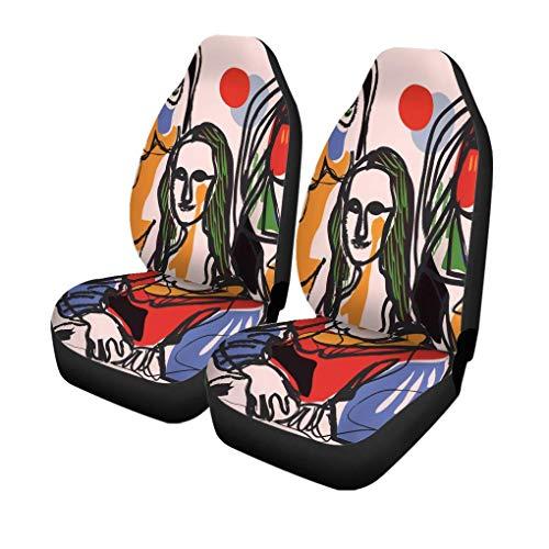 XZfly autostoelhoezen Picasso Masterpiece Fine Lisa Mona schilderij Célèbre Histoire cartoon set met 2 autobeschermers, geschikt voor auto
