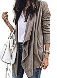 CORAFRITZ - Giacca casual da donna con drappeggio, tinta unita, con apertura sul davanti, leggero grigio M