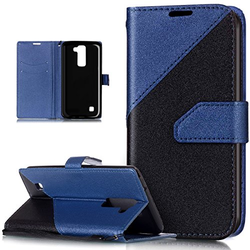 LG Stylus 2 Hülle,LG Stylus 2 Schutzhülle,ikasus Schlagfarbe Nähte Spleiß Stil Naht Farben PU Lederhülle Flip Hülle Handyhülle Ständer Tasche Wallet Schutzhülle für LG Stylus 2 LS775,Blau