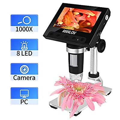 ANNLOV LCD Digital Microscope, 4.3 inch USB Microscope 500X or 1000X Magnification Coin Microscope Camera with 8 Adjustable LED Lights,Support Video Recording and Photo Capture (Black)