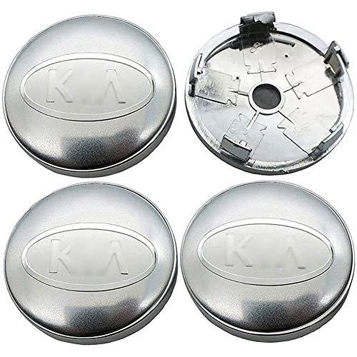 JYEBJD 4 Pezzi Cappucci Centrali delle Ruote Adesivo Distintivo 3D per Kia, Coperture Antipolvere per Ruote Cover con Stemma Distintivo Adesivi Logo Wheel Trim Accessori, 60MM