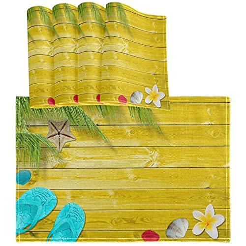GOSMAO Sommerpalmen Flip Flops Tischset-Tischsets 4er-Set Muscheln Vintage hölzerne hitzebeständige, waschbare, saubere Küchen-Tischsets für die Dekoration von Esstischen