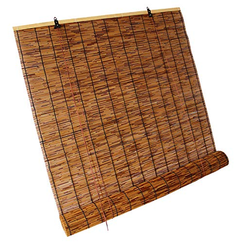 WXZX Persianas De Bambu Exterior, Marrón Persiana Estor Enrollable De Bambú De Caña 60x175cm, Cortinas Opacas con Polea, Decora Espacios Habitables para Uso Interior Y Exterior
